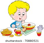 boy at breakfast | Shutterstock .eps vector #70880521