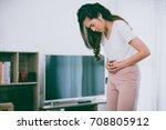 asian girl is having stomach... | Shutterstock . vector #708805912