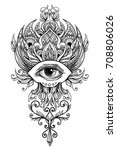 the all seeing eye in chic... | Shutterstock .eps vector #708806026