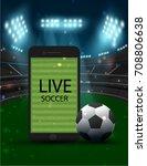 football field on screen of... | Shutterstock .eps vector #708806638