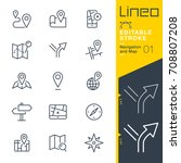 Lineo Editable Stroke - Navigation and Map line icons Vector Icons - Adjust stroke weight - Expand to any size - Change to any colour - stock vector
