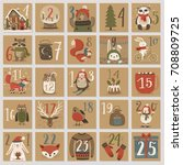 christmas advent calendar  hand ... | Shutterstock .eps vector #708809725