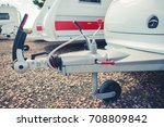 Recreational Vehicles Storage. Travel Trailers and Other RVs in the RV Storage Awaiting New Camping Season. - stock photo