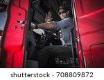 tractor trailer truck driver... | Shutterstock . vector #708809872