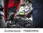 semi trucks mechanic preparing... | Shutterstock . vector #708809896