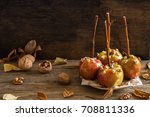 homemade caramel apples on a... | Shutterstock . vector #708811336