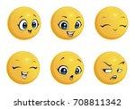 set of smileys for girls.... | Shutterstock .eps vector #708811342