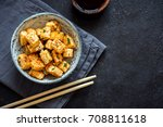 stir fried tofu in a bowl with... | Shutterstock . vector #708811618