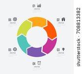 infographics template 6 options ... | Shutterstock .eps vector #708813382