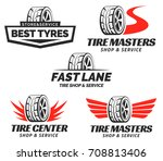 set of tyre shop logo design.... | Shutterstock . vector #708813406