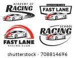 set of sport car racing logo ... | Shutterstock . vector #708814696