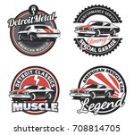 set of classic muscle car round ... | Shutterstock . vector #708814705