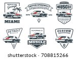 set of classic muscle car logo  ... | Shutterstock . vector #708815266