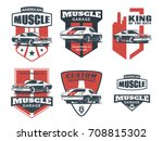 set of classic muscle car logo  ... | Shutterstock . vector #708815302