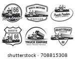 set of classic heavy truck logo ... | Shutterstock . vector #708815308