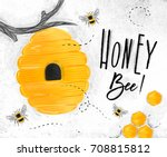 poster illustrated bee hive ... | Shutterstock .eps vector #708815812