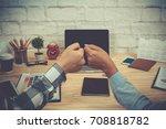 colleague partner giving fist... | Shutterstock . vector #708818782