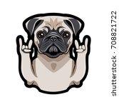 Cute Portrait Of Pug Dog. Sign...