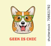 cute cartoon corgi dog face.... | Shutterstock .eps vector #708821782