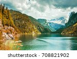 amazing lake gosausee and... | Shutterstock . vector #708821902