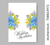 wedding floral template for... | Shutterstock .eps vector #708823972