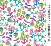 cute seamless floral pattern.... | Shutterstock .eps vector #708825712