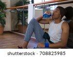 tired male dancer drinking... | Shutterstock . vector #708825985