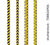 vector yellow black police tape ... | Shutterstock .eps vector #708826906