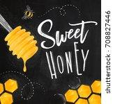 poster illustrated honey spoon  ... | Shutterstock .eps vector #708827446