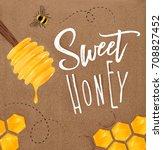 poster illustrated honey spoon  ... | Shutterstock .eps vector #708827452