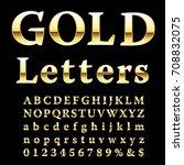 golden alphabet  fat golden...   Shutterstock .eps vector #708832075