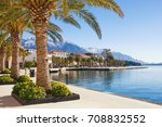 embankment of tivat town with... | Shutterstock . vector #708832552