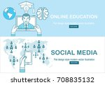 online education concept in... | Shutterstock .eps vector #708835132