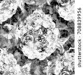 fantastic floral pattern. black ...   Shutterstock . vector #708839956