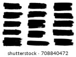 grunge set of black paint  ink... | Shutterstock .eps vector #708840472