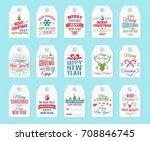 christmas label set elements... | Shutterstock . vector #708846745