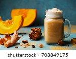 fresh pumpkin spiced latte or... | Shutterstock . vector #708849175