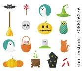 set of halloween symbols in... | Shutterstock .eps vector #708856276