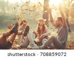 group of friends relaxing the... | Shutterstock . vector #708859072