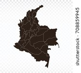 map colombia map. each city and ... | Shutterstock .eps vector #708859945