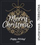 christmas greeting card with... | Shutterstock . vector #708860566