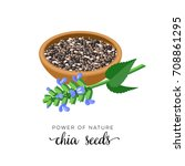 superfood fruit. chia seeds and ... | Shutterstock .eps vector #708861295