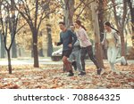group of young friends jogging... | Shutterstock . vector #708864325