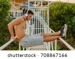 muscular young man during his...   Shutterstock . vector #708867166