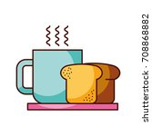 coffee cup bread dish breakfast ...   Shutterstock .eps vector #708868882