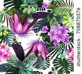 Stock vector tropical flowers seamless pattern 708870376
