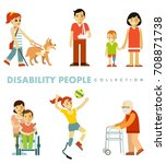 disability people set. young... | Shutterstock .eps vector #708871738