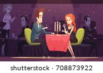 young couple having romantic... | Shutterstock .eps vector #708873922