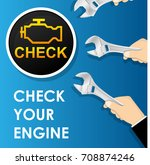 car check engine light... | Shutterstock .eps vector #708874246