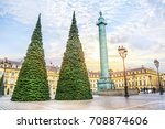 christmas tree at place vendome ...   Shutterstock . vector #708874606